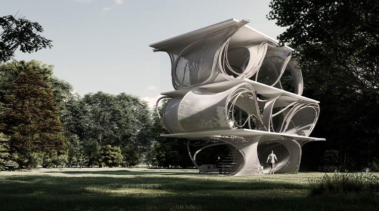 Creando estructuras complejas de hormigón con realidad aumentada y tubos de PVC, Slab House Proposal / Skeleton. Image Cortesía de reBENT