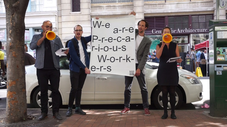 Architects Are Workers, A demonstration in front of the Philadelphia Center for Architecture. Image © Peggy Deamer