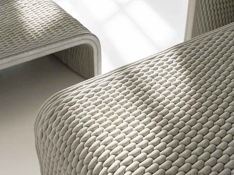 Woven Concrete furniture in Tokyo, designed by Studio 7.5. Image Courtesy of XtreeE