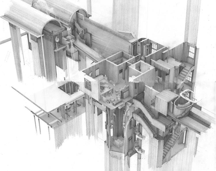 Anunciados os vencedores do Architecture Drawing Prize 2020 , Categoria Híbrida - Apartment #5, a Labyrinth and Repository of Spatial. Imagem Cortesia de World Architecture Festival