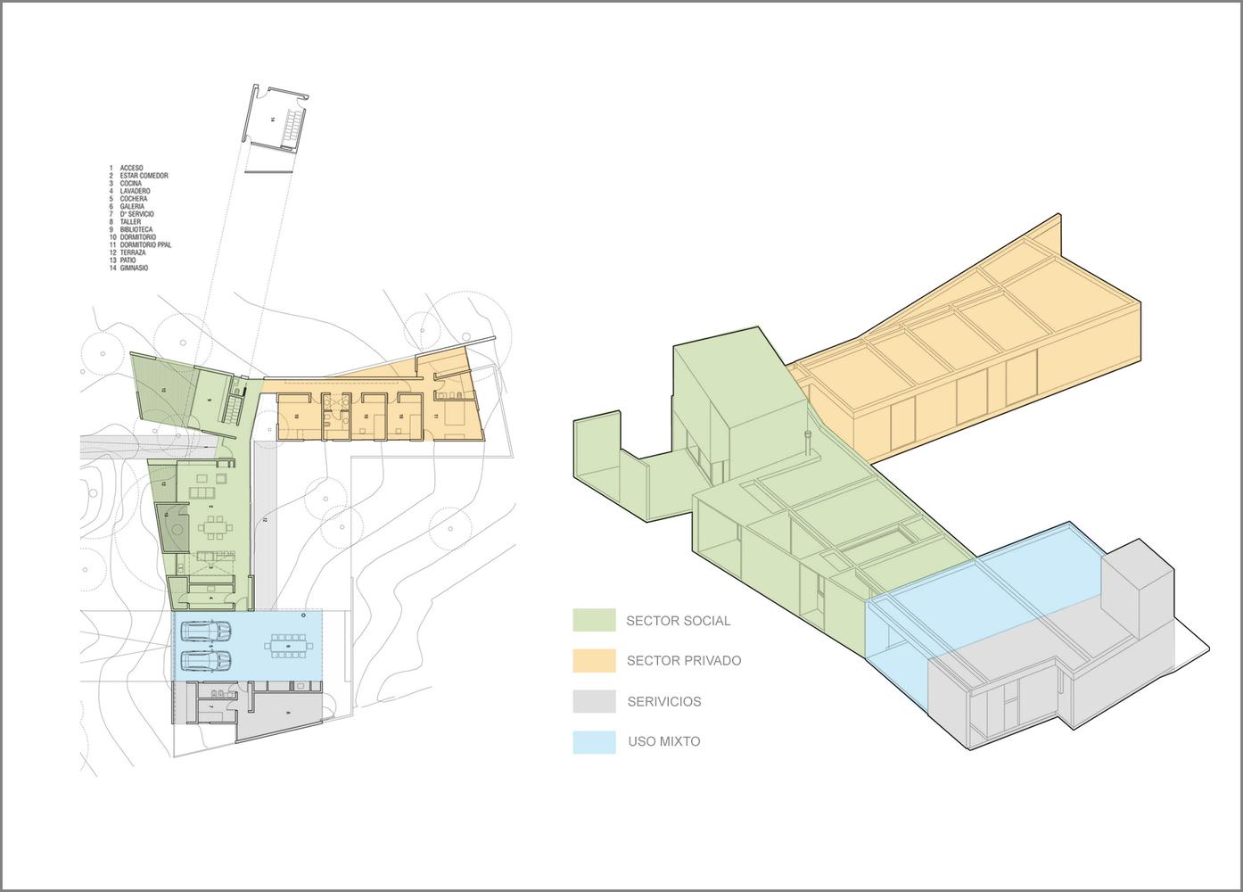 Esquemas funcionales: estrategias de organización programática en casas de Argentina,Casa El Corte / Plural Arquitectos. Image