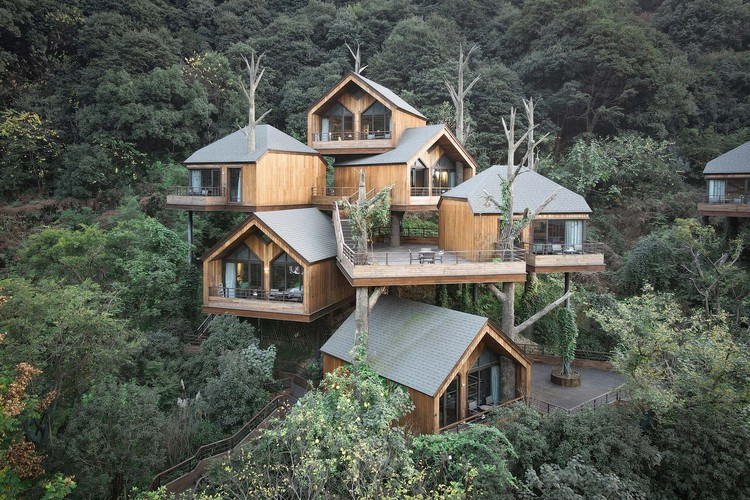 Casa na Árvore - Senbo Resort Hangzhou / WH studio, Fachada. Fotografia © Xiaoli Liu
