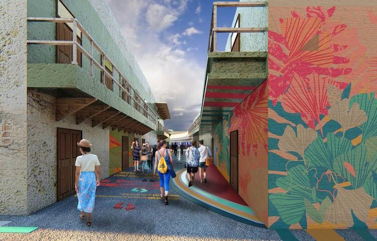 Esta es la propuesta ganadora del concurso para reformar los callejones del centro histórico de Barranquilla, Render Tipología 4. Image Cortesía de Manuela Keegan