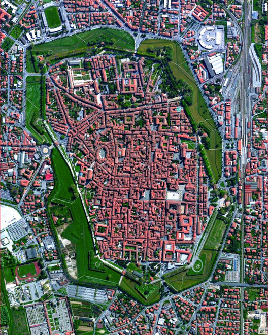Lucca, Italy. Created by @overview. Source imagery: @maxartechnologies