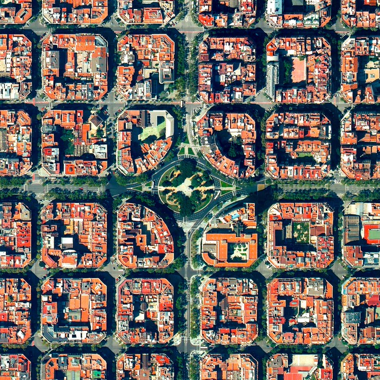 Barcelona, Spain. Created by @benjaminrgrant. Source imagery: @digitalglobe