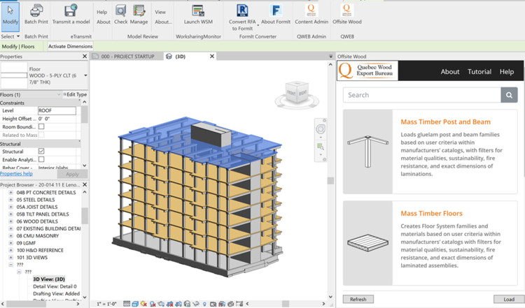 Offsite Wood software in Revit. Image Via QWEB