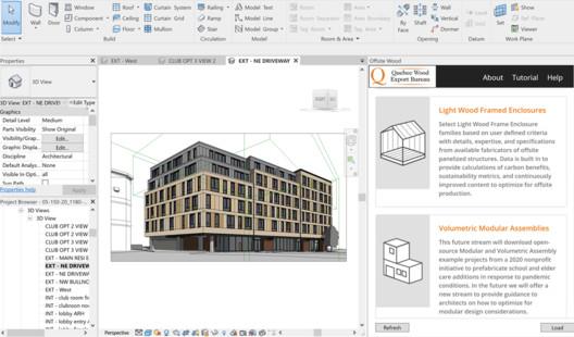 Offsite Wood software in Revit. Image Via QWEB