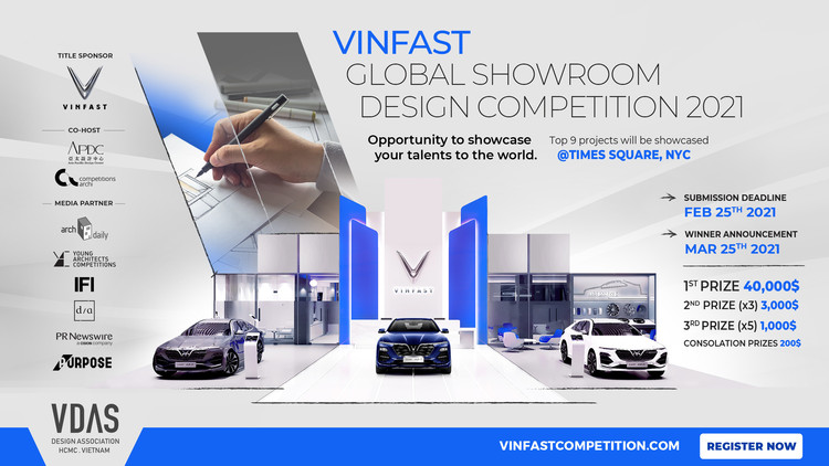 Call for Entries : VDAS launches VinFast global showroom design competition, total prize valued over USD 60,000, VinFast Global Showroom Design Competition to receive work submitted until 25/2/2021