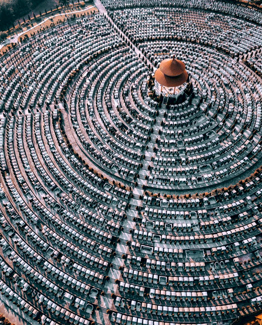 Cemetery in Guangzhou, China. Photograph by @nk7, found on @fromwhereidrone