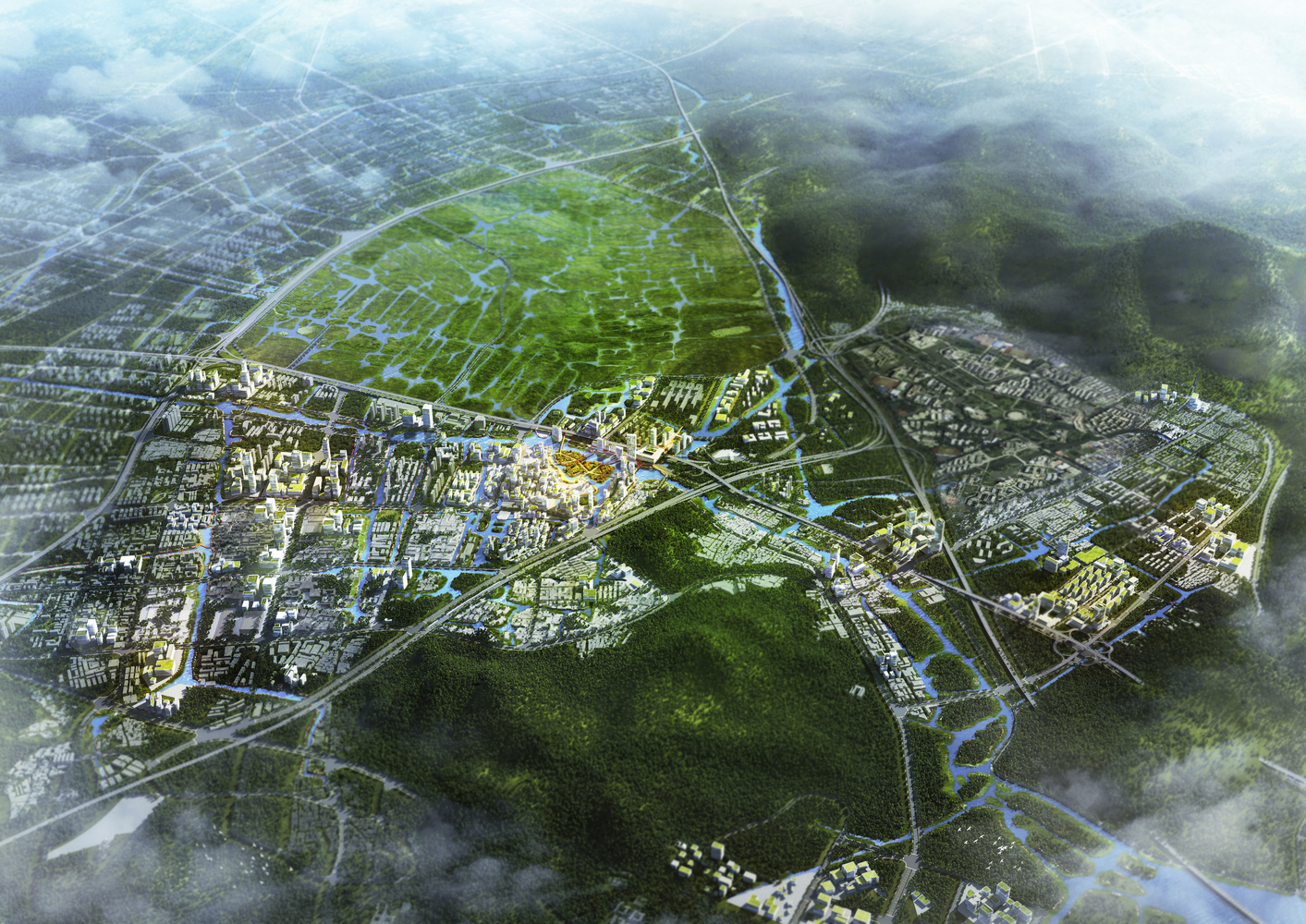 """Future Cities: From Le Corbusier's Radiant City to the Dutch """"Breathing City 2050"""" ,Ouhai district Wenzhou / VenhoevenCS. Image Courtesy of VenhoevenCS"""