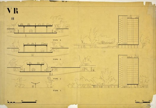 Elevations from the Radiant City show the elevated guide ways.. Image Courtesy of LE CORBUSIER FOUNDATION