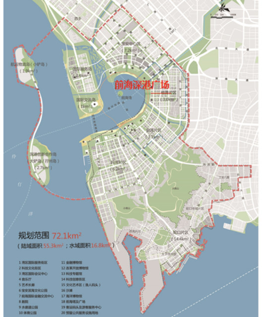 Conceptual plan diagram of Qianhai new urban center