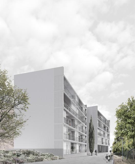 Comienza la construcción de 39 viviendas de protección oficial en el Turó del Sastre, Barcelona, Imagen - Montgat 18J. Image Cortesía de AMB Área Metropolitana de Barcelona
