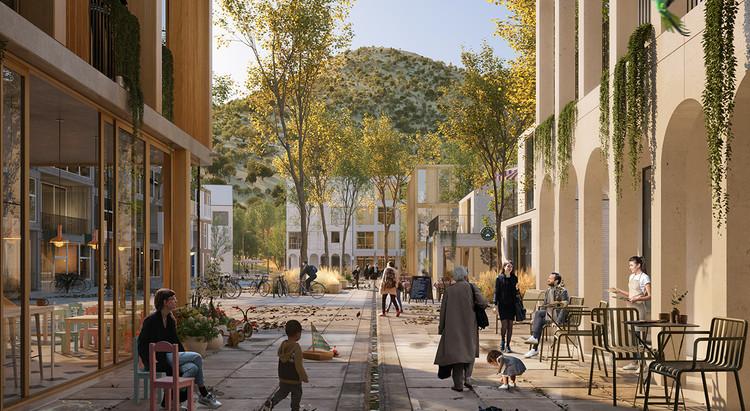 Gehl: La ecología al centro de Chile, Los espacios públicos más cercanos al borde de la montaña tienen un carácter más urbano y viceversa, como se ve aquí, los espacios públicos más alejados del paisaje natural tienen más vegetación y superficies permeables.. Image © Gehl