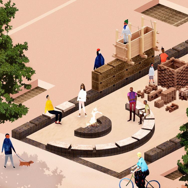 Soil Lab: Dinamarca en la Bienal de Arquitectura de Chicago 2021, Soil Lab Design Rendering_ Image by Eibhlín Ní Chathasaigh, James Albert Martin, Maria Bruun and Anne Dorthe Vester. Image © Chicago Architecture Biennial and Danish Arts Foundation