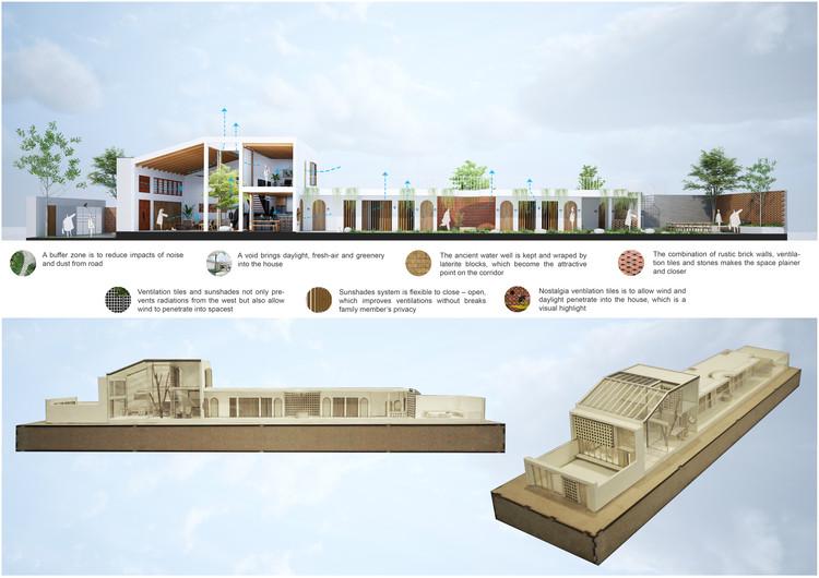 02 Time House section - Time House nhà diện tích 8,4x56m Không gian xanh là vùng đệm nhằm ngăn tiếng ồn và khói bụi.
