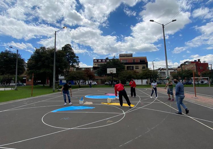 Intervención de urbanismo táctico inclusivo en el Parque Villemar en Fontibón, Cortesía de María Camila Montes y Paula Tatiana Erazo