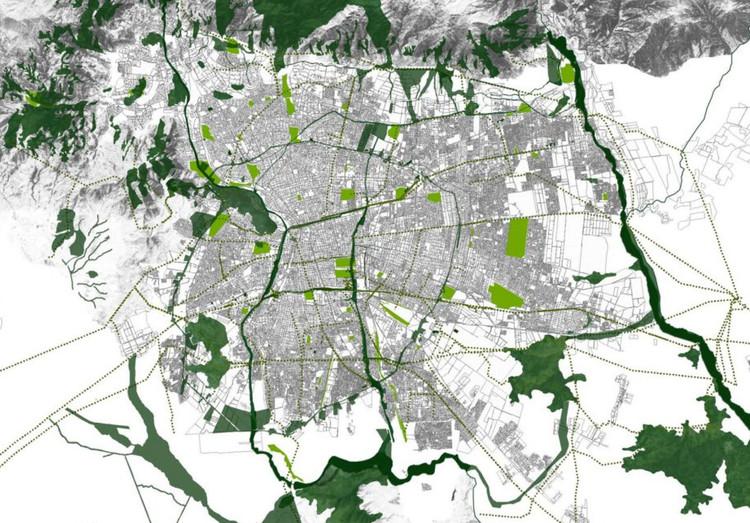 ¿Por qué Santiago necesita un sistema de infraestructura verde?, Imagen Objetivo de SIV para Santiago. Image © Stgo+ Infraestructura Verde