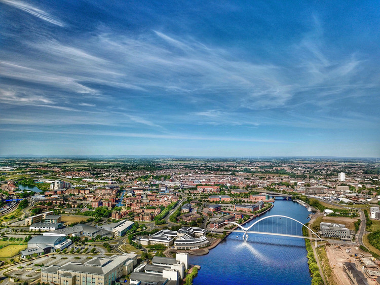 By Stockton-on-Tees and Tees River Flight.  Aerial photo of North East England.  Image via Shutterstock / Mix
