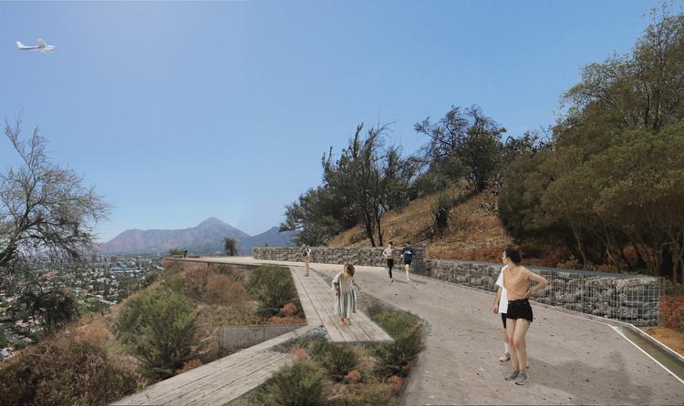 Monte Trenzado, la propuesta finalista de Cristián Boza Wilson para el Parque Observatorio Cerro Calán, Camino anillo de cintura. Image Cortesía de Cristian Boza