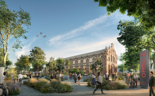 General view of the revitalised industrial building sitting in a landscaped garden. Image Courtesy of Foster + Partners