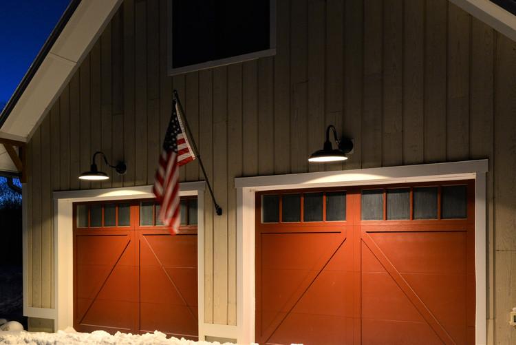 Updating Vintage Lighting With New, Gooseneck Lights Over Garage Doors