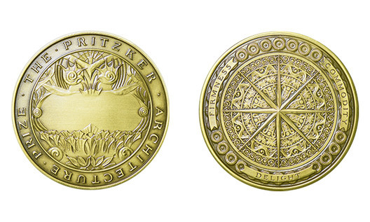 The bronze medallion awarded to each Laureate of the Pritzker Architecture Prize. Image © Pritzker Architecture Prize