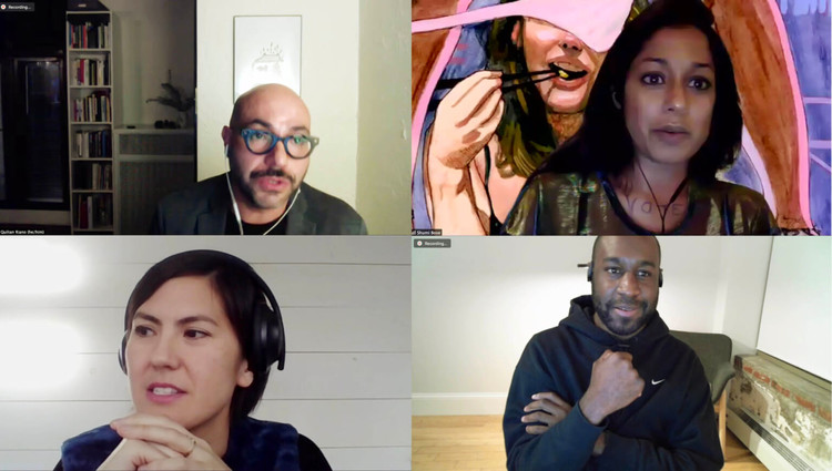 Second Season of Esther Choi's Office Hours Promises More Opportunities for Young Bipoc Designers, Clockwise from top left: Quilian Riano, Shumi Bose, Sean Canty, and Tei Carpenter in Office Hours. Image © Office Hours