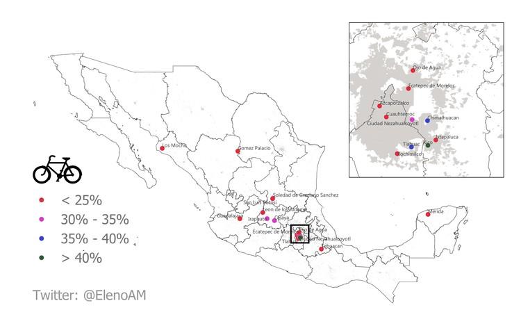Un México más ciclista que Dinamarca: mapas exploran el uso de la bicicleta en el país, 20 ciudades de más de 500,000 habitantes de mayor porcentaje de viviendas con bicicleta como medio de transporte. Image © Adrián Acevedo