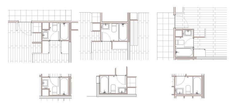 Detalles constructivos: 6 baños modulares prefabricados para edificios de rápida construcción, Cortesía de Siena