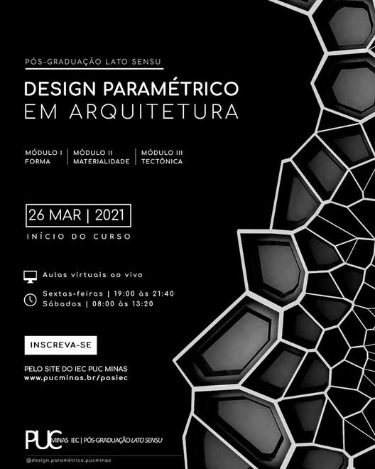 """Pós-Graduação online Lato Sensu """"Design Paramétrico em Arquitetura"""", banner divulgação"""