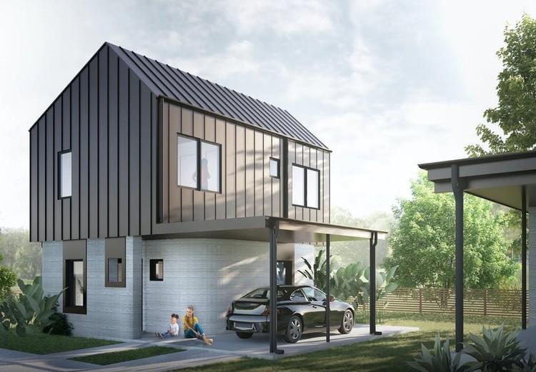 Primeiro condomínio de casas feitas com impressão 3D é colocado à venda nos EUA, Cortesia de ICON & 3Strands