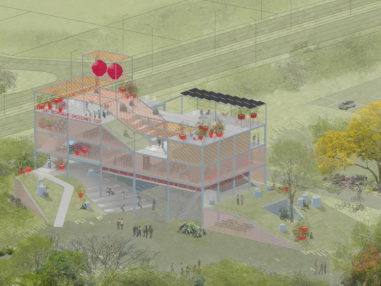 """Husos Architects: """"No queremos contribuir a la homogeneización del mundo que nos rodea"""", Prototipo para un Edificio de Campus Ecosocial. Concurso para el diseño de un edificio de informática en la Universidad del Valle. Cali, Colombia (2014). Image Cortesía de Husos"""