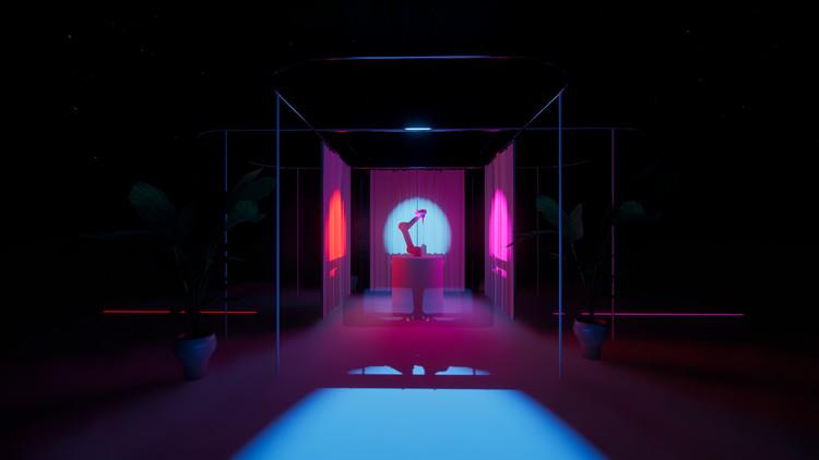 """Projeto Galath3a: uma colaboração mulher-máquina no Berlin Open Lab, Proposta de projeto: Cenografia para """"The Robot Salon"""". Imagem cortesia de Gili Ron e Irina Bogdan"""