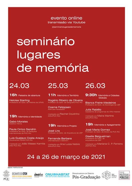Seminário: Lugares de Memória, Programação do Seminário Lugares de memória
