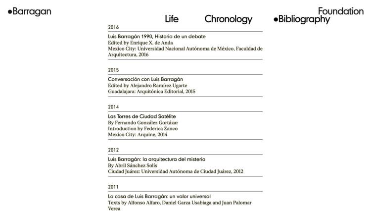 """""""Chronology"""" Section. Image via Barragán Foundation"""