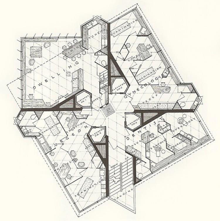 Lições do único arranha-céu de Frank Lloyd Wright, válidas até hoje, Planta. Via es.wikiarquitectura.com