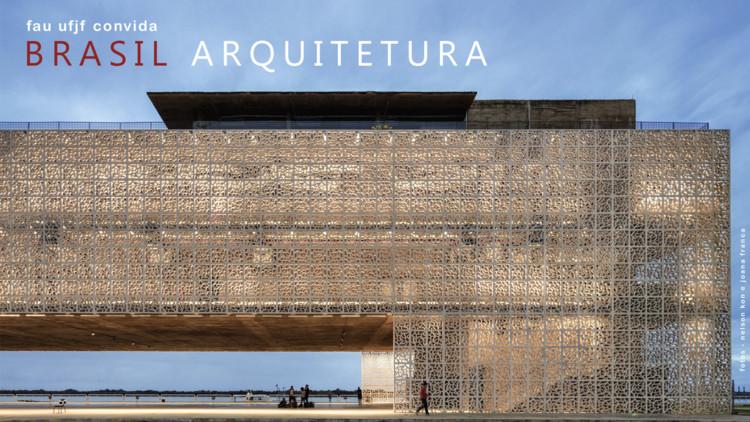 Brasil Arquitetura na FAU UFJF: Conversa com Francisco Fanucci, Imagem produzida pela organização do doCACAU. Apresenta uma fotografia do Museu Cais do Sertão, em Recife, com as informações do evento.
