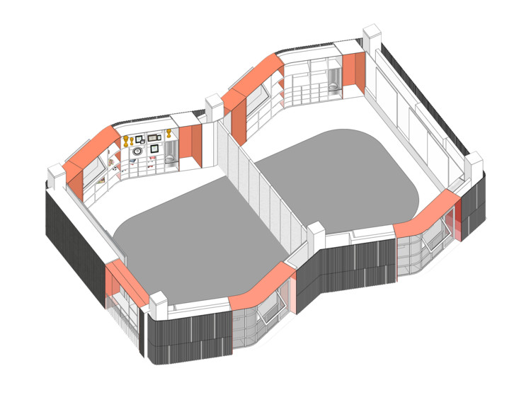 Drum-shaped learning unit showing different configurations. Image via O-office Architects