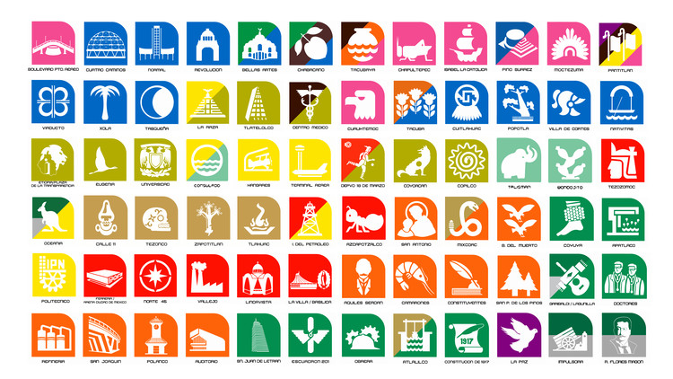 Arquitectura y cine: iconografía del Metro de la Ciudad de México, Mosaico de la iconografía del Sistema de Transporte Colectivo Metro Ciudad de México. Image Cortesía de Emiliano Bautista Neumann