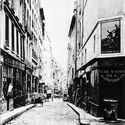 The rue des Moineaux in 1860 (cliche´ Marville) before the opening of the avenue de l'Opera. Image via Urban Forms: The Death and Life of the Urban Block by by Ivor Samuels, Phillippe Panerai, Jean Castex, Jean Charles Depaule