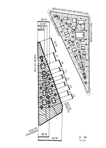 Haussmannien blocks, dimensions. Image via Urban Forms: The Death and Life of the Urban Block by by Ivor Samuels, Phillippe Panerai, Jean Castex, Jean Charles Depaule