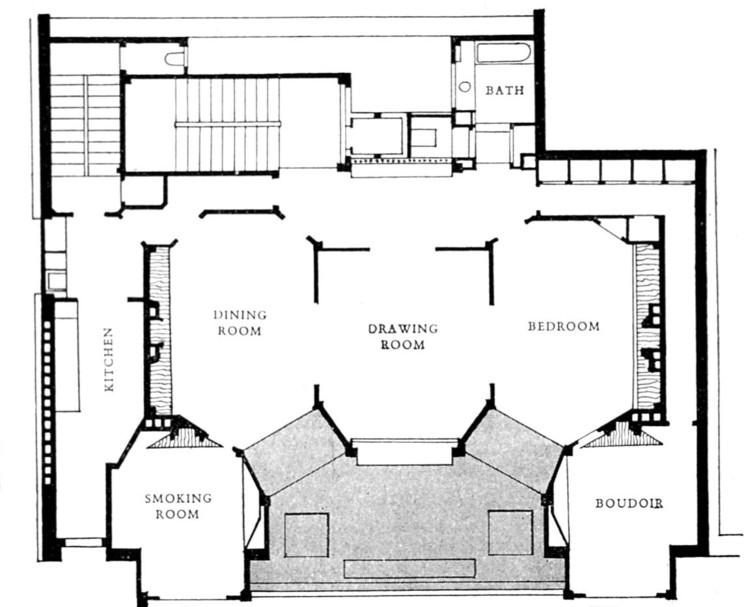 Apartment plan -  rue Franklin - Auguste Perret 1902. Image via Wikimedia