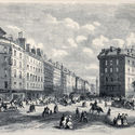 Antique illustration of Rue de la Paix, in Paris, before Rue de l'Imperatrice opening. Created by Provost, published on L'Illustration, Journal Universel, Paris, 1868. Image via Shutterstock/ by Marzolino