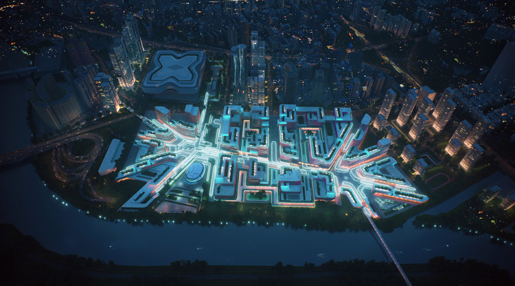 Quais são os limites da renderização no processo de projeto arquitetônico?, Render de Zaha Hadid Architects para proyecto de regeneración en el área portuaria de Huanggang en Shenzhen, China. Image Cortesia de Zaha Hadid Architects