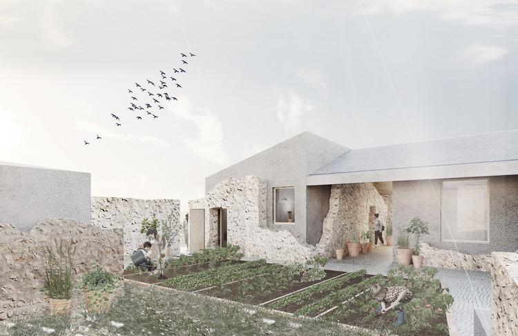 De conjunto patrimonial a refugio y escuela agroforestal: La propuesta para rehabilitar la finca Raixa en Mallorca, España, Perspectiva - Patio interior y huerto. Image © AYLLÓN . PARADELA . DE ANDRÉS  Arquitectos
