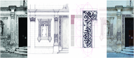 Mariapia di Lecce (commended, Hybrid category): Reconstruct with drawing. Hand drawing for graphic analysis.. Image Courtesy of Sir John Soane's Museum