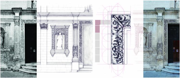 Sem experiência com renderização? 4 técnicas que você pode usar no lugar do render, Mariapia di Lecce (elogiado, categoria híbrida): Reconstruir com desenho. Desenho à mão para análise gráfica. Imagem cortesia de Sir John Soane's Museum
