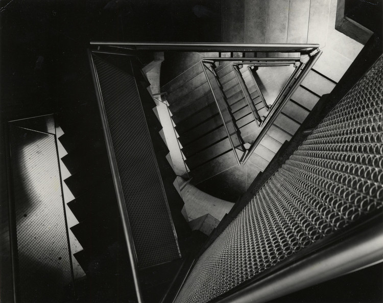 """Architecture not Exclusively for Architects"": Ole Bouman on Finding Measure, Yale University Art Gallery, ca. 1954. Construction view of staircase. Image © Lionel Feininger. Yale University Art Gallery Archives"