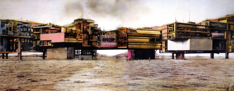Autodiálogo sobre la producción de utopías concretas: Francesco Careri, Figura 2. Constant New Babylon, fotomontaje en el Terrain Vague, 1974. Image Cortesía de Revista Dearq